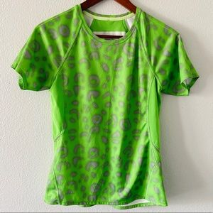 Nike Fit Dry Lime Green Animal Print Tee